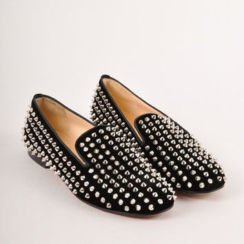 QIYIF Black and Silver Velvet Rollerball Spiked Loafer Flats