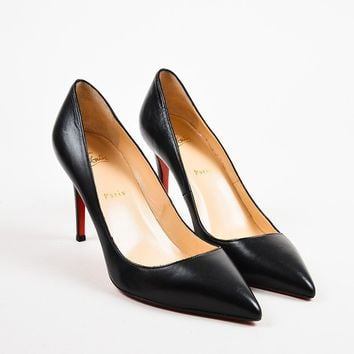 PEAPU2C Christian Louboutin Black Leather Pigalle 100 Pointed Toe Pumps