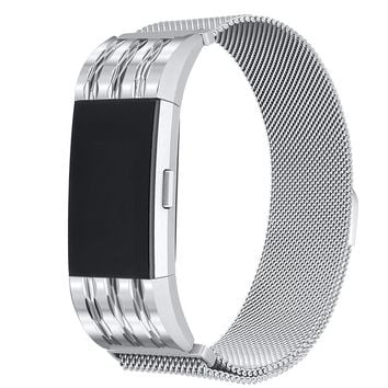 bayite For Fitbit Charge 2 Bands, Stainless Steel Milanese Loop Metal Replacement Accessories Bracelet Strap with Unique Magnet Lock for Fitbit Charge 2 HR Large Small, Silver, Black, Gold, Rose Gold