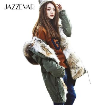 ESBONJ 2016 New Fashion women's army green Large raccoon fur collar hooded long coat parkas outwear rabbit fur lining winter jacket
