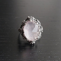 XMAS SALE Rose Garden Ring - Rose Quartz and Sterling Silver