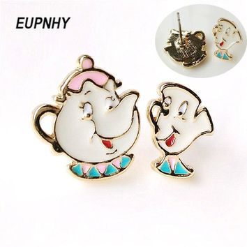 EUPNHY Beauty and The Beast Teapot Cup Stud Earring Lovely Fashion Ear Studs for Children Piercing Earring Jewelry