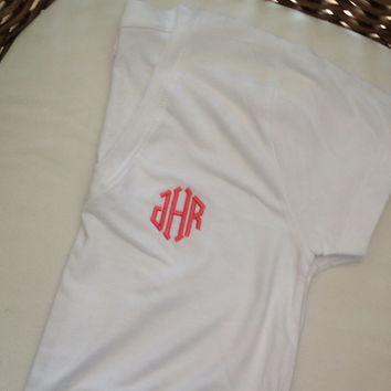Monogrammed VNeck Shirt by LittleCharmsDesigns on Etsy