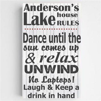 Lake House Rules Canvas Sign Free Personalization