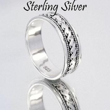 SIZE 11 Genuine Solid Sterling Silver Surfer Sport Wear New Band Men Ring R-204
