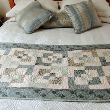 Patchwork quilted olive green and cream bed runner, Queen bed runner, modern bedroom decor