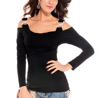 Double-C Buckles Long Sleeves Shirt Black