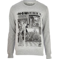 River Island MensGrey New York print sweatshirt