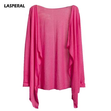 LASPERAL Sexy Candy Color Solid Women Cover-up New Cardigan Sunscreen Thin Summer Sun Clothes Air Conditioning Shirt Beach Wear