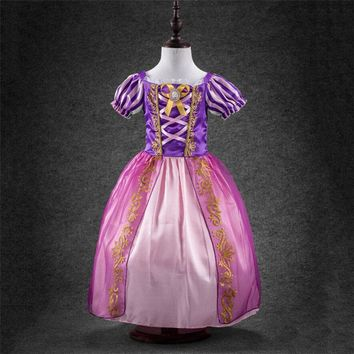 Fashion little girls party dresses age 3 to 9 years old rapunzel costume for kids