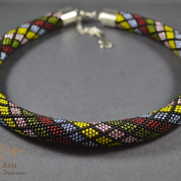 Jewelry, Necklaces, Beadwork, Necklace, bead crochet rope - Colourful Mosaic