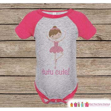 Novelty Girl's Outfit - Ballerina TuTu Cute Pink Raglan Shirt - Pink Baby Girls Onepiece or Tshirt - Novelty Raglan Tee for Toddler Girls