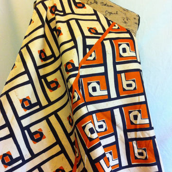 African KUBA Style Print Fabric by the HALF YARD--Burnt Orange, Black and Cream