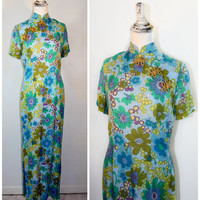 Vintage 1960s Psychedelic Cotton Floral Chinese Cheongsam Qipa Maxi Dress SMALL