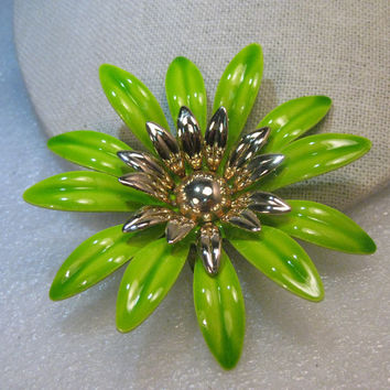 "1960's Enameled Green Floral Brooch, Sarah Coventry, 3"", Gold Tone"