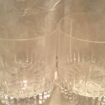 A Set of Two Cut Glass Old Fashion Glasses, Whiskey Glasses, Low Ball Glasses, Scotch glasses