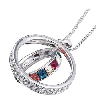 Promise of Love Binity Ring Fashion Necklace with Swarovski Crystals