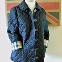 Authentic Burberry Brit Quilted Jacket Black Size Petite Small