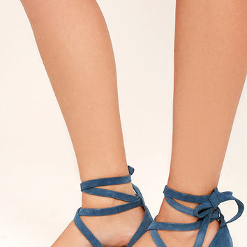 Siren Nevada Blue Denim Suede Leather Lace-Up Heels