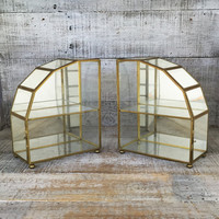 Glass and Brass Display Cases 2 Mirrored Curio Wall or Table Cabinets Glass Display Cases Hollywood Regency Display Case Jewelry Display Box