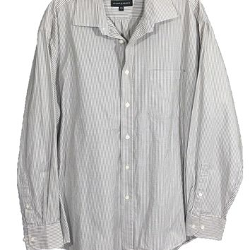 Jhane Barnes Gray White Striped Zig Zag Aztec Button LS Shirt Mens L 16.5 34/35 - Preowned