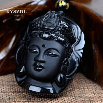 KYSZDL Bead Curtain Natural Obsidian Scrub Pendant Black Guanyin Head Pendants Transhipped Buddha Head