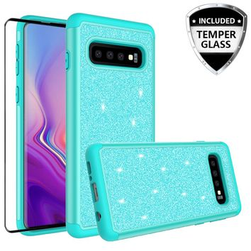 Samsung Galaxy S10 Case, Galaxy S10 Glitter Bling Heavy Duty Shock Proof Hybrid Case with [HD Screen Protector] Dual Layer Protective Phone Case Cover for Samsung Galaxy S10 W/Temper Glass - Teal