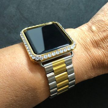 38mm 40mm 42mm 44mm Apple Watch Band Series 1 2 3 4 Womens Mens Silver/Gold Two Tone Stainless/Iced Out Gold Bezel Case Cover 3mm Diamonds