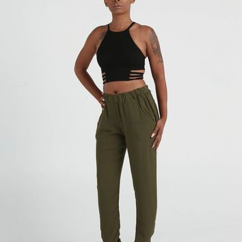 Zoey Olive Green Pants