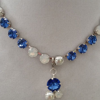 swarovski crystal bridal, bridesmaid formal event necklace sapphire and pearls .#59.