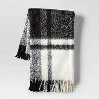 Plaid Faux Mohair Throw Blanket Black - Threshold™
