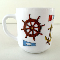 1970's Arcopal France Coffee Mug - Retro Nautical Sailboat Design - Milk Glass Cup - Mid Century Modern Kitchen