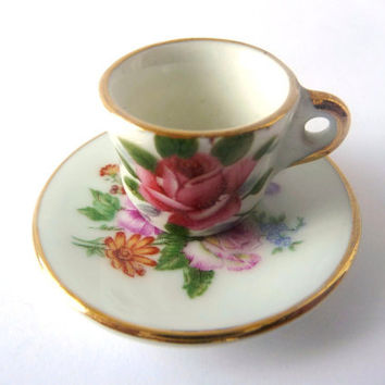Small Tea-Cup - Miniature - Porcelain - White and Flowers - Limoges - Vitrine - Shelf