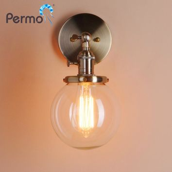 Permo 5.9'' Vintage Wall Lamp Modern Glass Wall Sconce Wall Lights Fixtures luminaire for Home Loft Bedroom Lamp Stair Lights