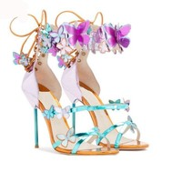 Butterfly ankle appliques heels sandals