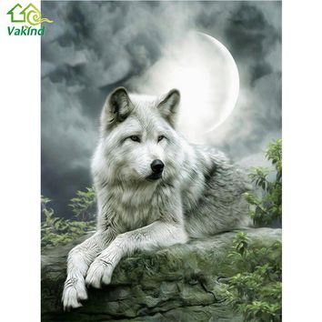 Mosaic 5D DIY Diamond Painting Moonlight Wolf Diamond Embroidery Round Rhinestone Cross Stitch Kit Home Decor