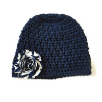 Navy Blue Newborn Baby Hat Flower