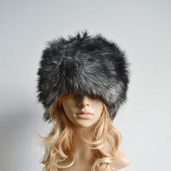 Black & White Warm Fur Hat Fashion Russian Lady Faux Rabbit Cap Womens Winter Beanie Hat Female Ladies Head Gear