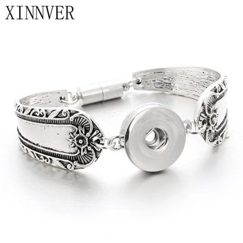 Snap Jewelry 18mm Xinnver Snap Button Flowers Carved  Bracelet For Women Vintage Magnetic Bracelets Men's Arm Cuff Bangle ZE039