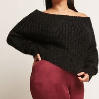 Plus Size Fuzzy Off-the-Shoulder Top