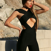 Rowan Criss Black Cross Cutout Detail Jumpsuit