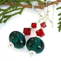 Green and Red Christmas Earrings, Lampwork Swarovski Crystal Handmade Holiday Dangle Jewelry