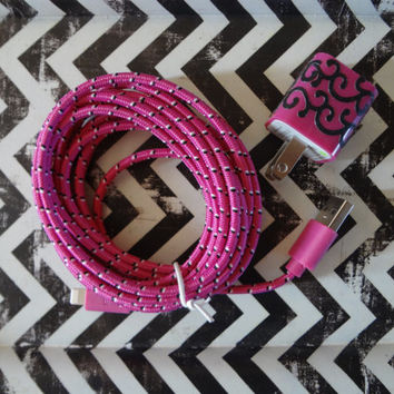 New Super Cute Hot Pink & Black Scroll Designed Wall iphone 5/5s/5c Charger + 10ft Flat Hot Pink Braided cable cord A must have