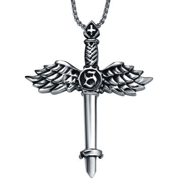Stainless Steel Angel Wing Sword Cross Pendant Necklace 52476efdc8f4