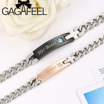 GAGAFEEL His Beauty Her Beast Stainless Steel Bracelets For Lover Couple Romantic Customized Engrave Logo Bracelet Men Women