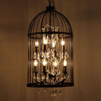 American Birdcage Chandelier Crystal Light Loft Metal Vintage Chandelier Lamp 110V-220V E14 4/8 Lights Dinning Room Light WPL192