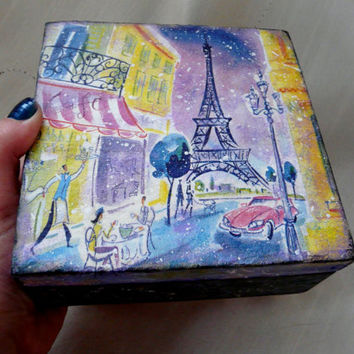 Eiffel Tower Jewelry Box, Decoupaged Wooden Vintage Box, Storage Wooden Box, Trinket Keepsake Box, Paris Wooden Box,