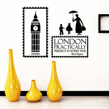 Wall Decal Quotes Mary Poppins London Practically Perfect Vinyl Sticker DA3689