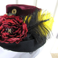 Steampunk No. H3 Vintage Burgundy and Black Velvet Floppy Top Hat with Ostrich Feathers and Gears