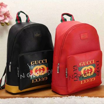 GUCCI Women Casual School Bag Cowhide Leather Backpack